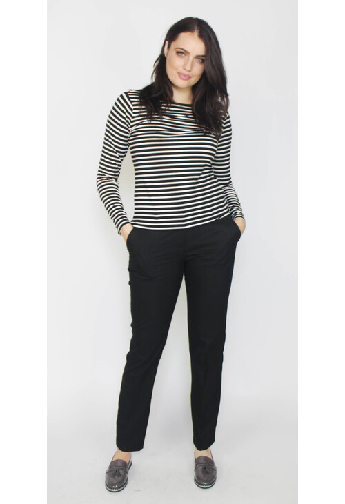 Sophie B Black & Ecru Stripe Top