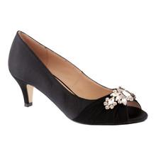 Barino Black Satin Peep Toe Heel