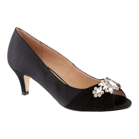 Barino Black Satin Peep Toe Heel