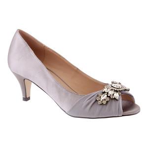 Barino Grey Satin Peep Toe Heel