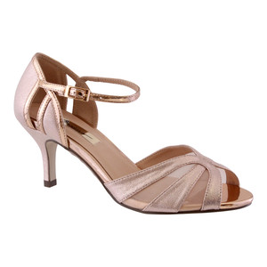 Barino Rose Gold Fabric Strap Heel