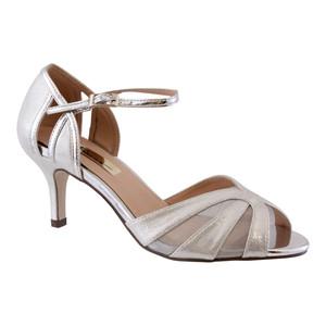 Barino Silver Fabric Strap Heels