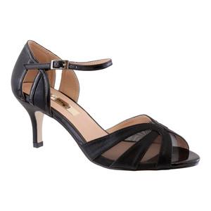Barino Black Fabric Strap Heels
