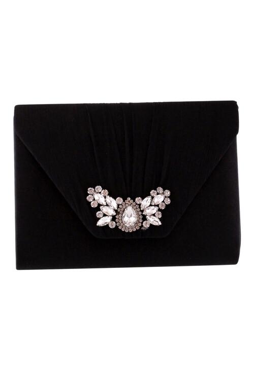 Barino Black Satin Jewel Detail Bag