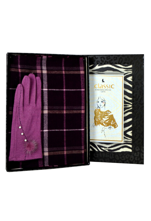 Something Special Purple Gloves & Check Scarf Set