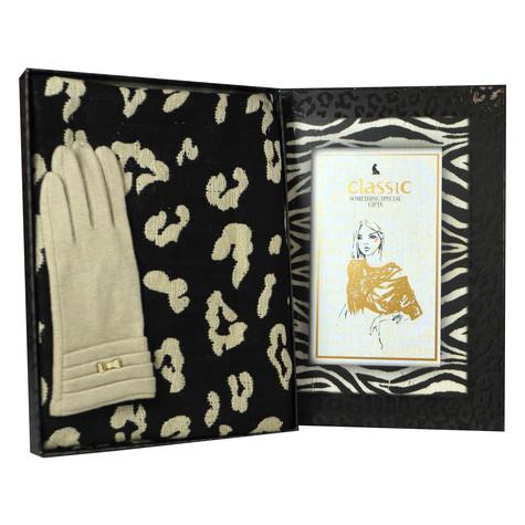 Something Special Cream Gloves & Cheetah Print Scarf Gift Set