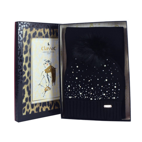 Something Special Black Pearl Detail Hat & Scarf Gift Set