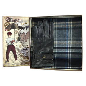 Something Special Men's Black Glove & Check Scarf Gift Set