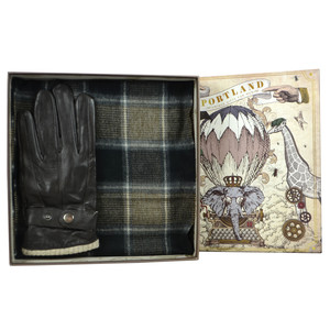 Something Special Men's Brown Glove & Check Scarf Gift Set