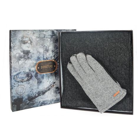 Something Special Men's Grey Glove & Scarf Gift Set