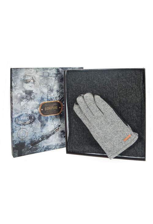 Something Special Men's Grey Glove & Scarf Gift Set