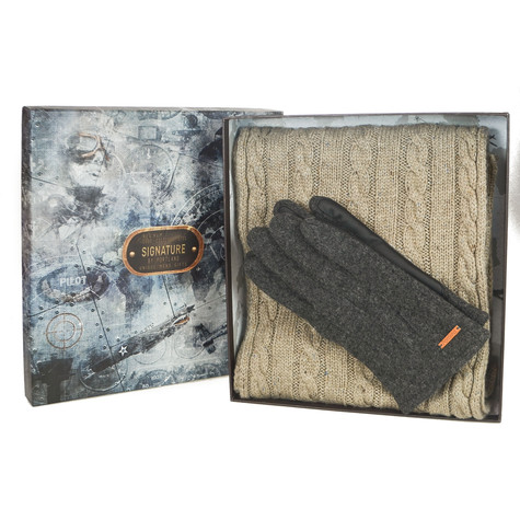 Something Special Men's Beige Glove & Scarf Gift Set