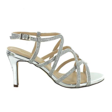 Pacomena Silver Strap Sandal Heels