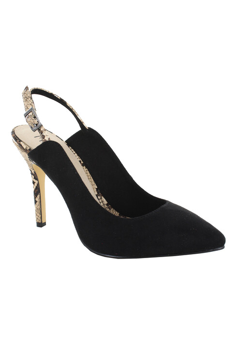 Pacomena Black Slingback Animal Print Heels