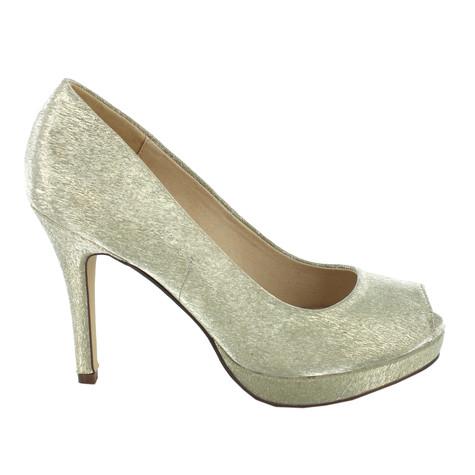 Pacomena Gold Metallic Peep Toe Heels