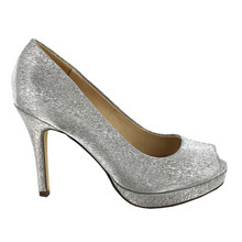 Pacomena Taupe Metallic Peep Toe Shoes
