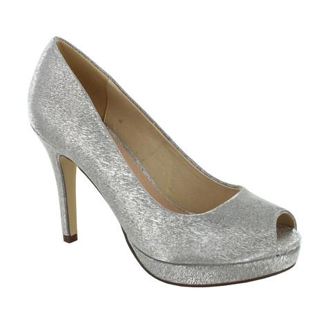 Pacomena Taupe Metallic Peep Toe Shoes