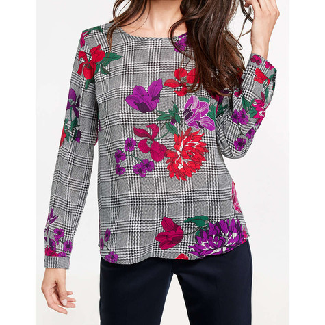 Gerry Weber Check Floral Pattern Round Neck Top