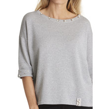 Betty Barclay Grey Melange Casual Sweatshirt With Beads