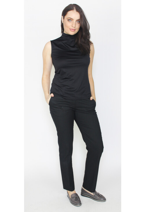 Zapara Black Sleeveless Turtle Neck Top