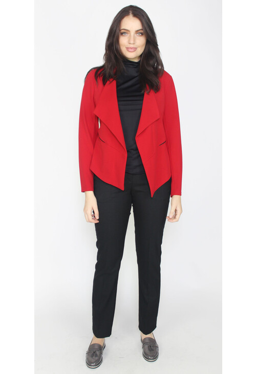 Zapara Red Crop Drape Jacket