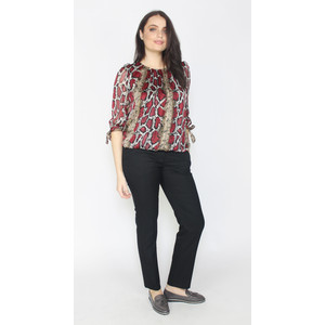 Zapara Red Snake Pattern Print Sweetheart Top
