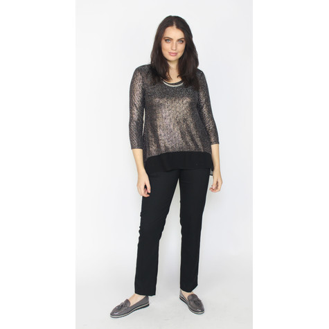 SophieB Gold Metallic Shimmer Hem Mesh Top
