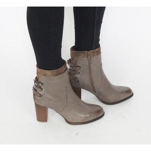 Pamela Scott Taupe Strap Heel Boots