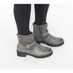 Pamela Scott Grey Stud Detail Biker Boot