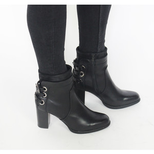 Pamela Scott Black Heel Strap Boot