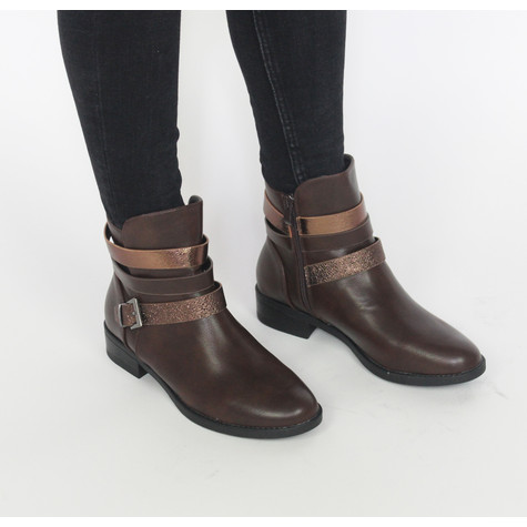 Pamela Scott Brown Buckle Heel Boots