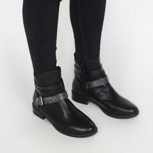 Pamela Scott Black Buckle Heel Boots