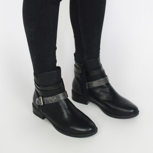 Pamela Scott Black Buckle Heel Boots