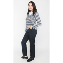 Twist Grey & Navy Strip White Collar Top