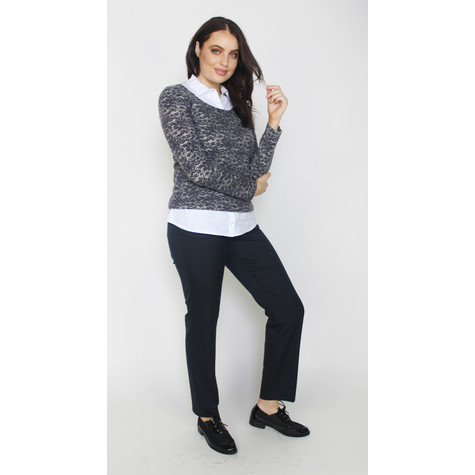 Twist Blue & Grey White Collar Soft Touch Knit