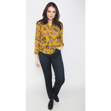 Twist Mustard Floral Print V-Neck Top