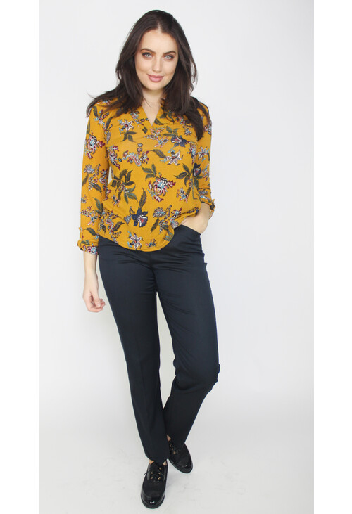 Twist Mustard Floral Print V-Neck Top