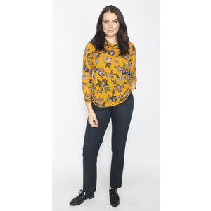 Twist Mustard Floral Print Cowl Neck Top