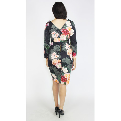 Closet Multi Floral Draped Front Wrap Dress
