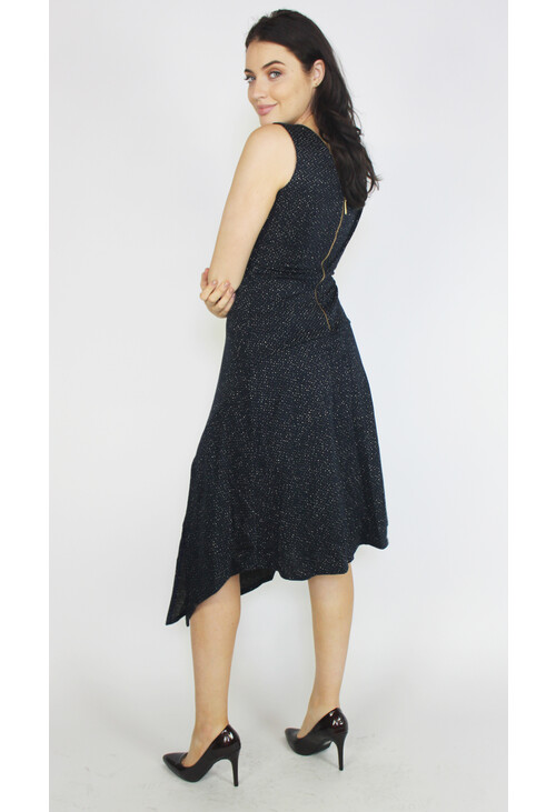 Closet Navy With Gold Specks A-Line Dress With Split