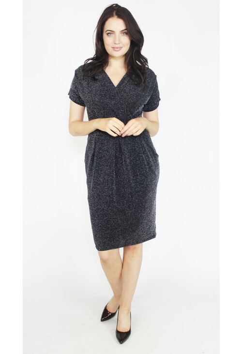 Zapara Silver & Black Wrap Dress