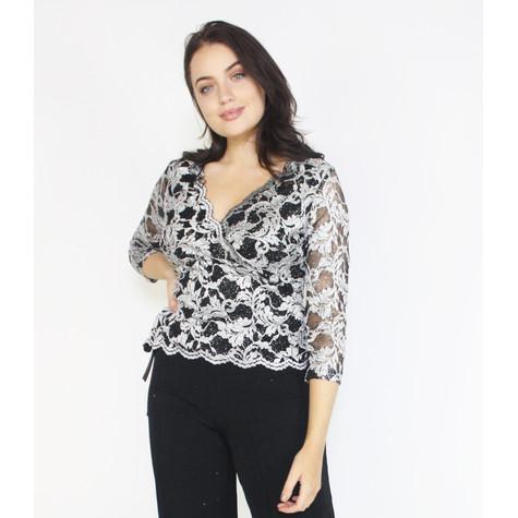 Ronni Nicole Silver & Black Metallic Floral Pattern Top