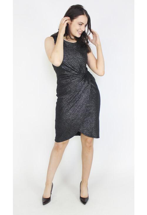 Donna Ricco Black & Metallic Pattern Dress
