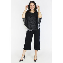 Ronni Nicole Black Mesh Cape Metallic Floral Top