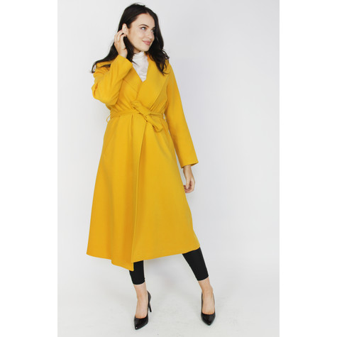 SophieB Ochre Long Belted Winter Coat