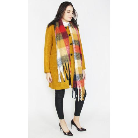 Zapara Ochre Collarless Winter Coat