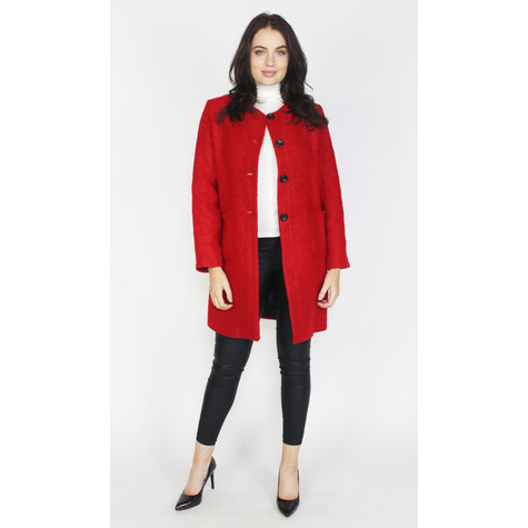 Zapara Red Collarless Winter Coat