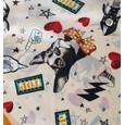 Pamela Scott Black & Yellow Dog & Space Print Scarf
