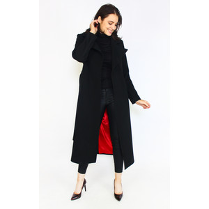 Zapara Cashmere Touch Black Belted Long Winter Coat