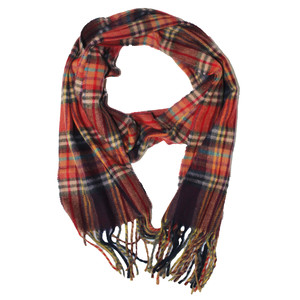 SophieB Red & Orange Check Long Scarf